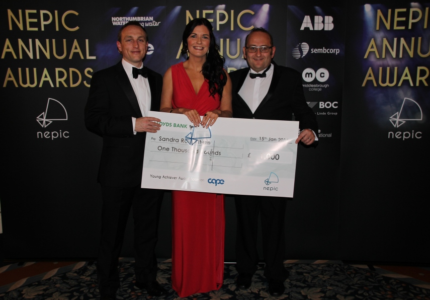 Biochemica's Directors congratulate Dr Sandra Rountree (centre) on her Young Achiever Award at the NEPIC Annual Awards Dinner 2016