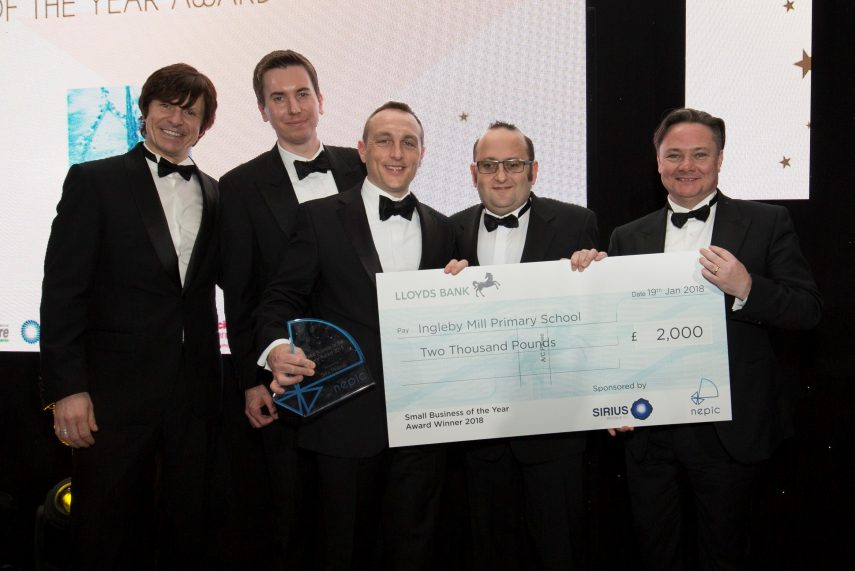 Left to Right: Compere Steve Walls, Gareth Edmunds of Award sponsor Sirius Minerals, Dr Tim Robinson, Chairman of Biochemica Water, Dave Ruddy, CEO of Biochemica and Iain Wright, Chief Executive of NEPIC.